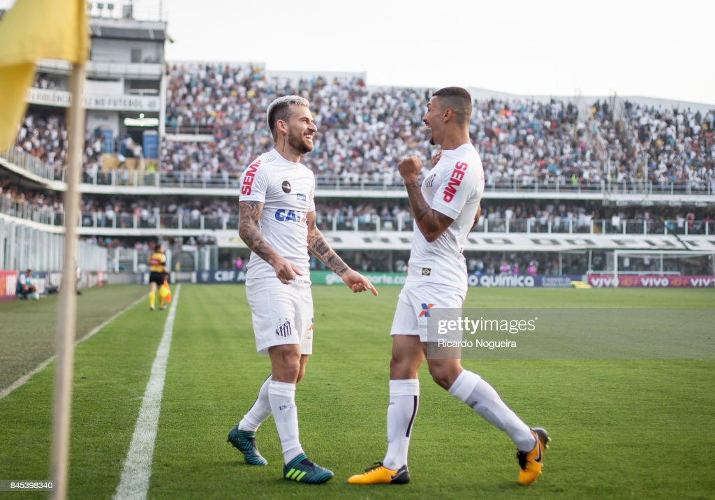 Lucas Lima #10 celebrates his goal with Alison #5 of Santos during the match between Santos and Corinthians as a part of Campeonato Brasileiro 2017 at Vila Belmiro Stadium on September 10, 2017 in Santos, Brazil.
