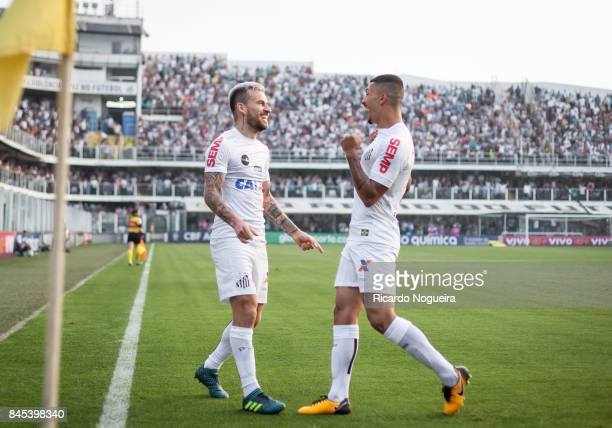 Lucas Lima celebrates his goal with Alison of Santos during the match between Santos and Corinthians as a part of Campeonato Brasileiro 2017 at Vila...