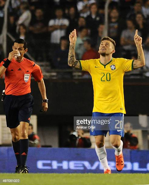 Lucas Lima of Brazil celebrates after scoring the first goal of his team during a match between Argentina and Brazil as part of FIFA 2018 World Cup...