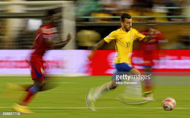 Lucas Lima of Brazil dribbles the ball during a Group B match of the 2016 Copa America Centenario against the Haiti at Camping World Stadium on June...