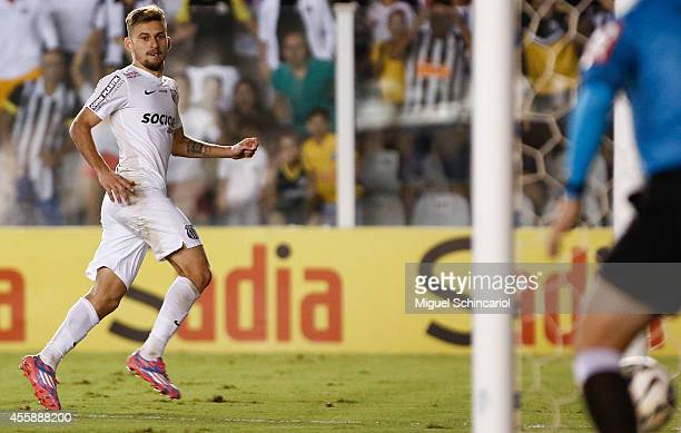 Lucas Lima of Santos celebrates his goal scored during a match between Santos and Figueirense of Brasileirao Series A 2014 at Vila Belmiro Stadium on...