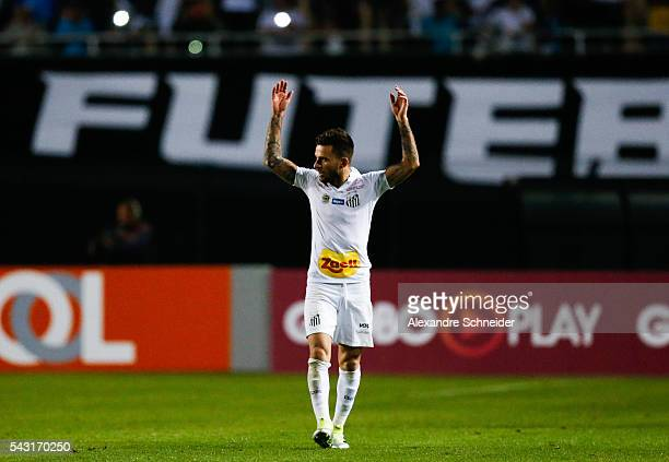 Lucas Lima of Santos celebrates their thirth goal during the match between Santos and Sao Paulo for the Brazilian Series A 2016 at Pacaembu stadium...