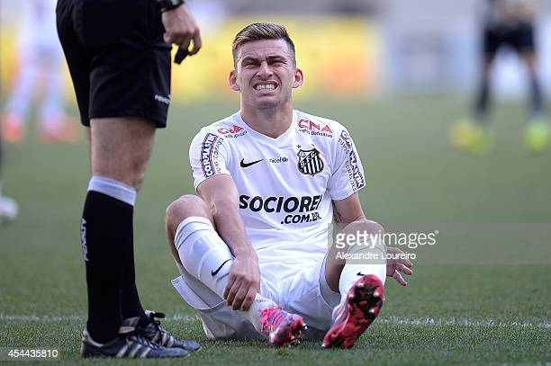 Lucas Lima of Santos in action during the match between Botafogo and Santos as part of Brasileirao Series A 2014 at Maracana stadium on August 31...