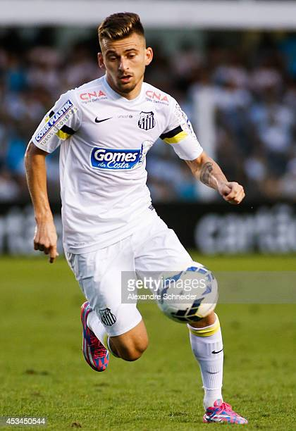 Lucas Lima of Santos in action during the match between Santos and Corinthians for the Brazilian Series A 2014 at Vila Belmiro stadium on August 10...