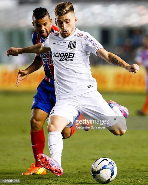 Lucas Lima of Santos in action during the match between Santos and Bahia for the Brazilian Series A 2014 at Vila Belmiro stadium on October 9 2014 in...