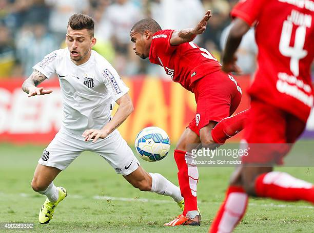 Lucas Lima of Santos in action during the match between Santos and Internacional for the Brazilian Series A 2015 at Vila Belmiro stadium on September...