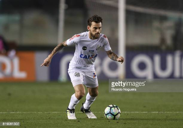 Lucas Lima of Santos in action during the match between Santos and Chapecoense as a part of Campeonato Brasileiro 2017 at Vila Belmiro Stadium on...