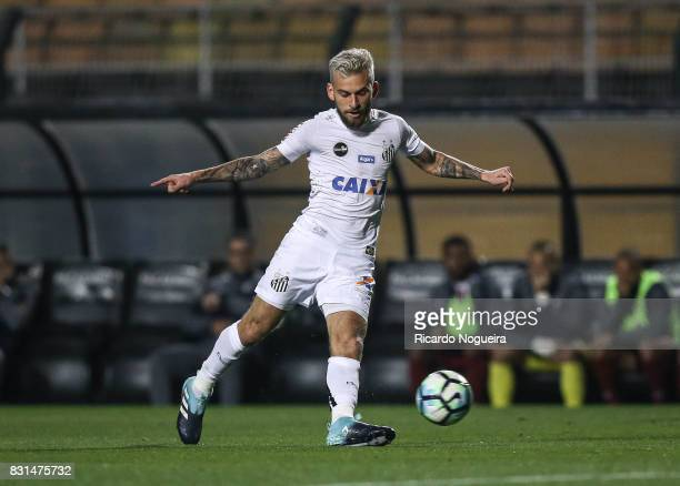 Lucas Lima of Santos in action during the match between Santos and Fluminense as a part of Campeonato Brasileiro 2017 at Pacaembu Stadium on August...