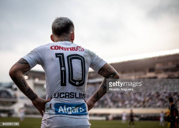 Lucas Lima of Santos in action during the match between Santos and Corinthians as a part of Campeonato Brasileiro 2017 at Vila Belmiro Stadium on...