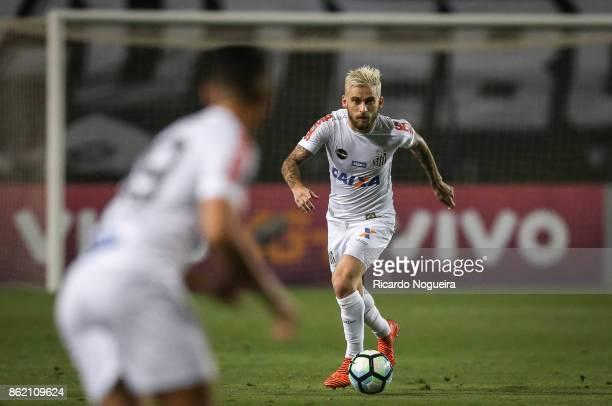 Lucas Lima of Santos in action during the match between Santos and Vitoria as a part of Campeonato Brasileiro 2017 at Pacaembu Stadium on October 16...