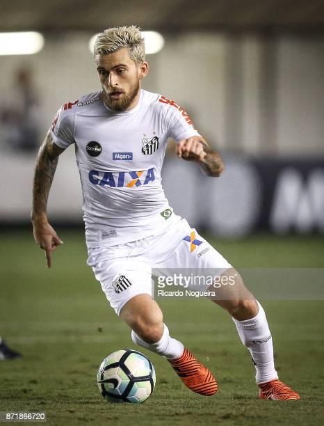 Lucas Lima of Santos in action during the match between Santos and Vasco da Gama as a part of Campeonato Brasileiro 2017 at Vila Belmiro Stadium on...