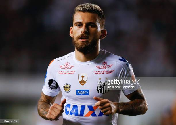 Lucas Lima of Santos in action during the match between Santos of Brazil and The Strongest of Bolivia for the Copa Bridgestone Libertadores 2017 at...