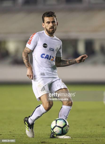 Lucas Lima of Santos kicks the ball during a match between Santos and Palmeiras as a part of Campeonato Brasileiro 2017 at Vila Belmiro Stadium on...