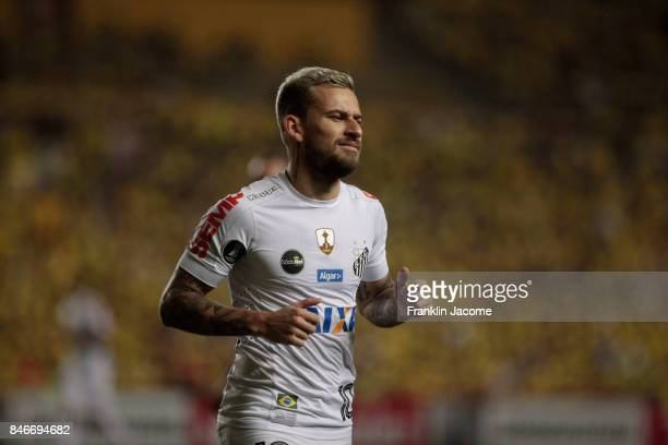 Lucas Lima of Santos looks on during a first leg match between Barcelona SC and Santos as part of quarter finals of Copa CONMEBOL Libertadores...