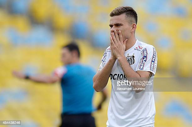 Lucas Lima of Santos reacts during the match between Botafogo and Santos as part of Brasileirao Series A 2014 at Maracana stadium on August 31 2014...