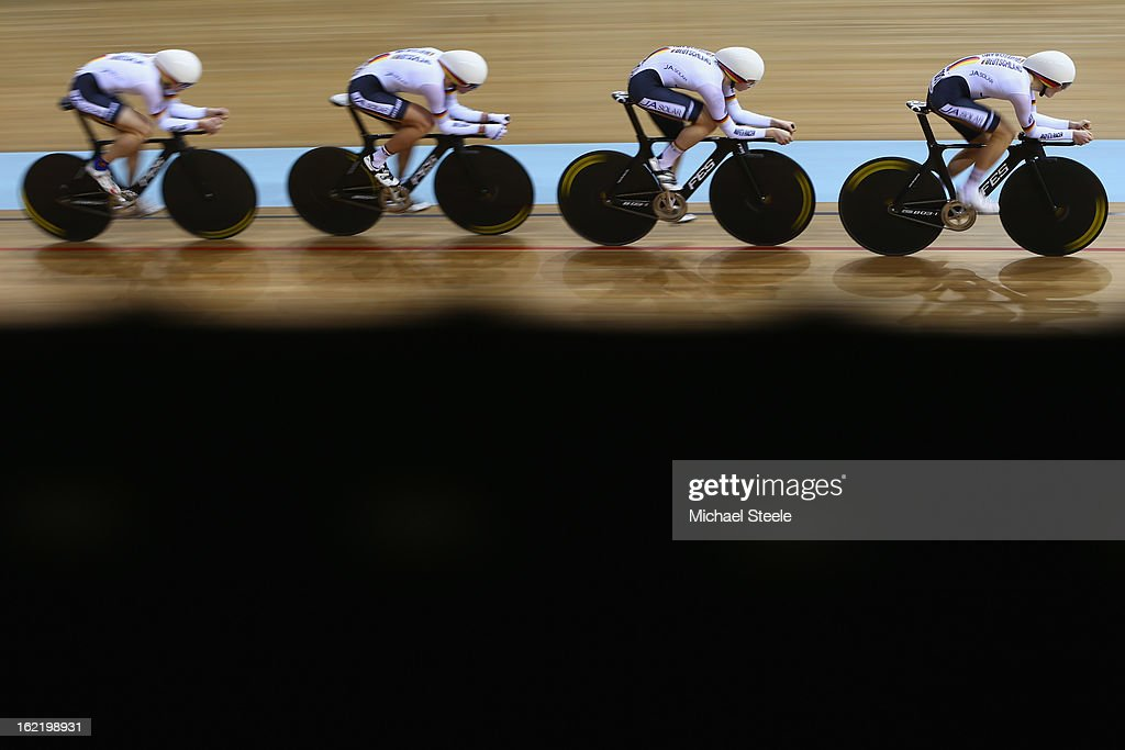 Lucas Liss,Henning Bommel,Maximilian Beyer and Theo Reinhardt of the Germany men's team pursuit during qualifications on day one of the UCI Track World Championships at Minsk Arena on February 20, 2013 in Minsk, Belarus.
