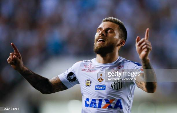 Lucas Lma of Santos celebrate their second goal during the match between Santos of Brazil and The Strongest of Bolivia for the Copa Bridgestone...
