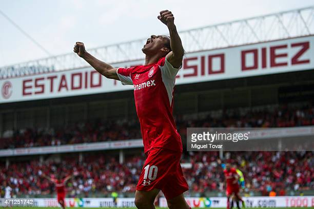 Lucas Lobos of Toluca celebrates after scoring the second goal of his team during a match between Toluca and Tijuana as part of 15th round of...