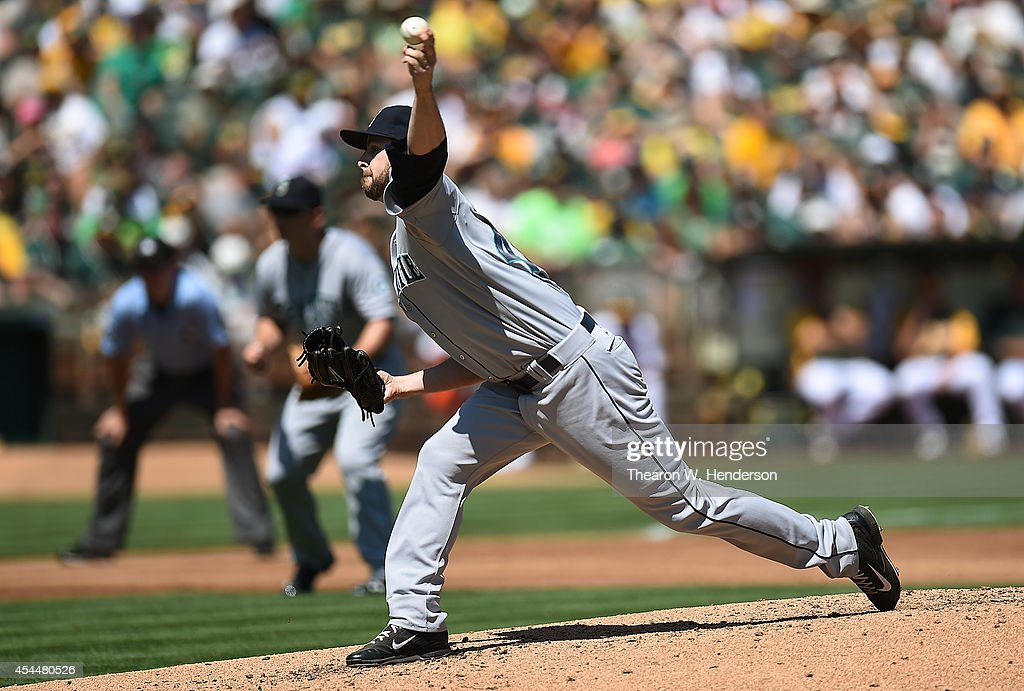 Lucas Luetge #44 of the Seattle Mariners pitches against the Oakland Athletics in the bottom of the first inning at O.co Coliseum on September 1, 2014 in Oakland, California.