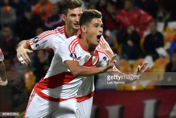 Lucas Martinez of River Plate celebrates after scoring the third goal of his team during a group stage match between Deporivo Independiente Medellin...