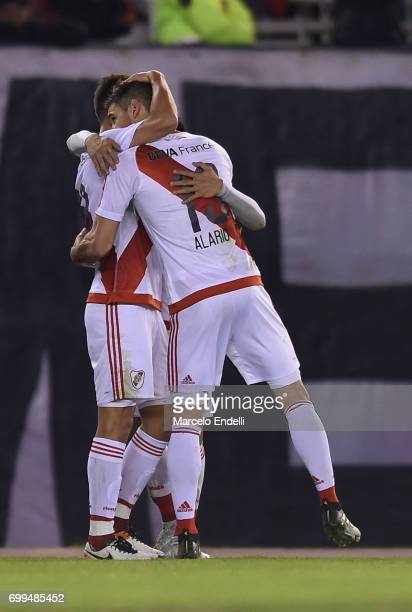 Lucas Martinez Quarta of River Plate celebrates with teammate Lucas Alario after scoring the first goal of his team during a match between River...