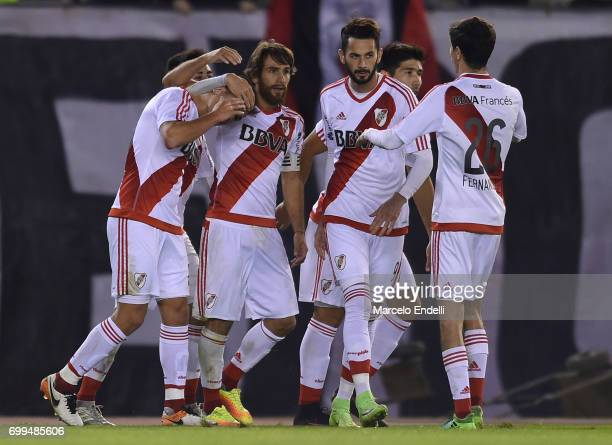 Lucas Martinez Quarta of River Plate celebrates with teammates after scoring the first goal of his team during a match between River Plate and...