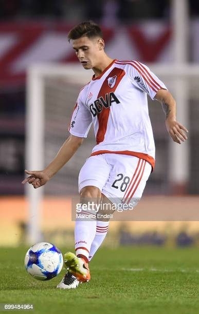 Lucas Martinez Quarta of River Plate kicks the ball during a match between River Plate and Aldosivi as part of Torneo Primera Division 2016/17 at...