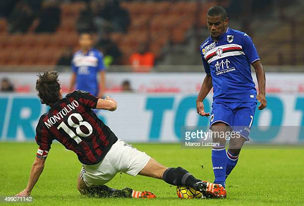 Lucas Martins Fernando of UC Sampdoria is challenged by Riccardo Montolivo of AC Milan during the Serie A match between AC Milan and UC Sampdoria at...