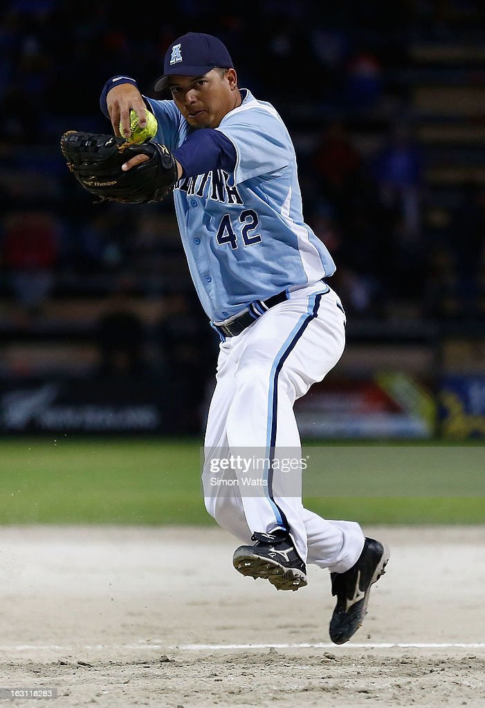 Lucas Mata of Argentina pitches during the pool B match between New Zealand and Argentina at Tradstaff Sports Stadium on March 5, 2013 in Auckland, New Zealand.