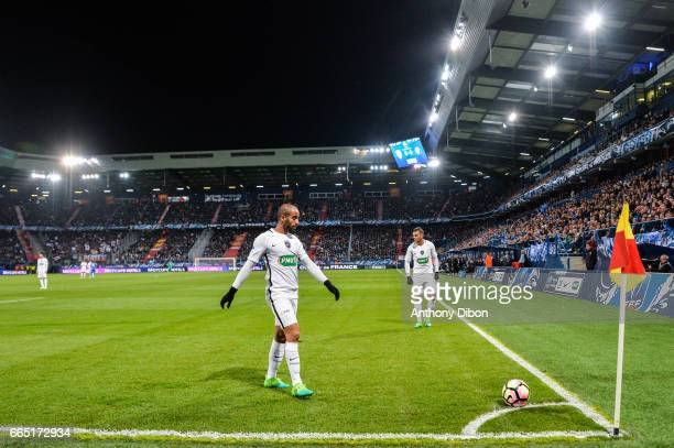 Lucas Moura and Hatem Ben Arfa of PSG during the French National Cup Quarter Final match between Us Avranches and Paris Saint Germain at Stade Michel...