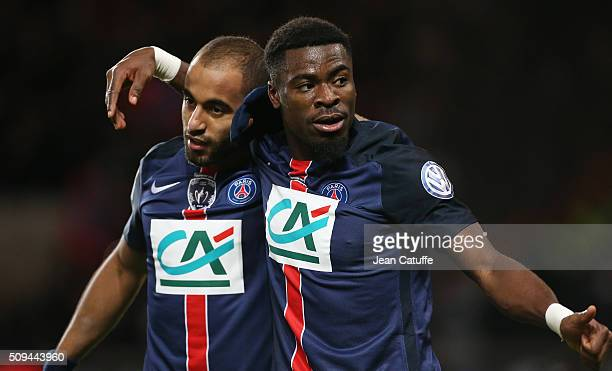 Lucas Moura and Serge Aurier of PSG celebrate the third goal of their team during the French Cup match between Paris SaintGermain and Olympique...