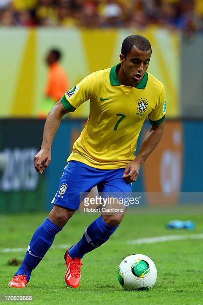 Lucas Moura of Brazil in action during the FIFA Confederations Cup Brazil 2013 Group A match between Brazil and Japan at National Stadium on June 15...