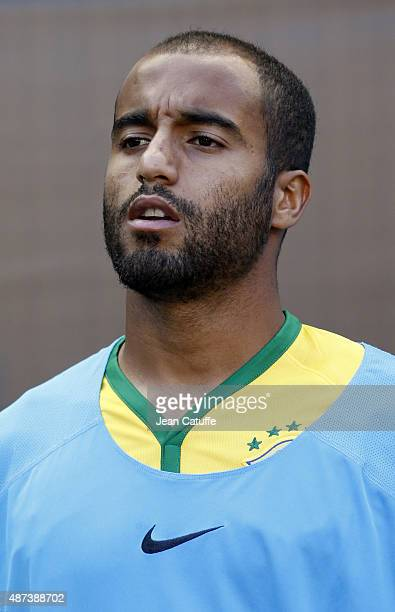 Lucas Moura of Brazil looks on before the international friendly match between Brazil and Costa Rica at Red Bull Arena on September 5 2015 in...