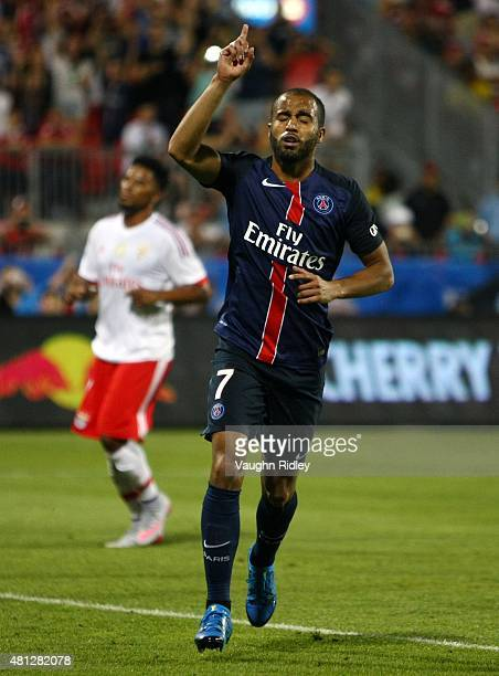 Lucas Moura of Paris SaintGermain celebrates after scoring from the penalty spot during the 2015 International Champions Cup match against Benfica at...