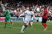 Lucas Moura of Paris SaintGermain celebrates his second goal during the French League 1 match between EA Guingamp and Paris SaintGermain on April 9...