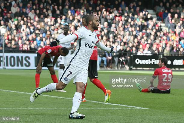 Lucas Moura of Paris SaintGermain during the French League 1 match between EA Guingamp and Paris SaintGermain on April 9 2016 in Guingamp France