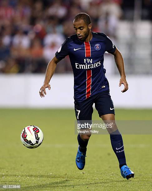 Lucas Moura of Paris SaintGermain in action during the 2015 International Champions Cup match against Benfica at BMO Field on July 18 2015 in Toronto...