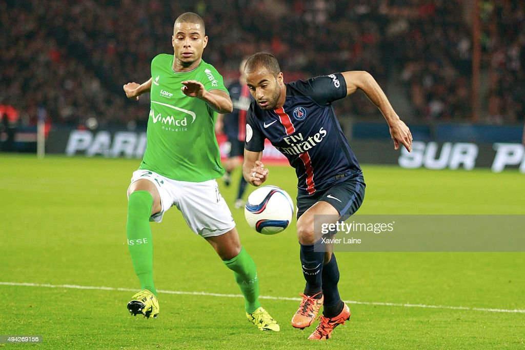 <a gi-track='captionPersonalityLinkClicked' href=/galleries/search?phrase=Lucas+Moura+-+Attacking+Midfielder+and+Winger+-+Born+1992&family=editorial&specificpeople=7910925 ng-click='$event.stopPropagation()'>Lucas Moura</a> of Paris Saint-Germain in action with <a gi-track='captionPersonalityLinkClicked' href=/galleries/search?phrase=Kevin+Monnet-Paquet&family=editorial&specificpeople=4044138 ng-click='$event.stopPropagation()'>Kevin Monnet-Paquet</a> of AS Saint-Etienne during the French Ligue 1 between Paris Saint-Germain and AS Saint-Etienne at Parc Des Princes on October 25, 2015 in Paris, France.
