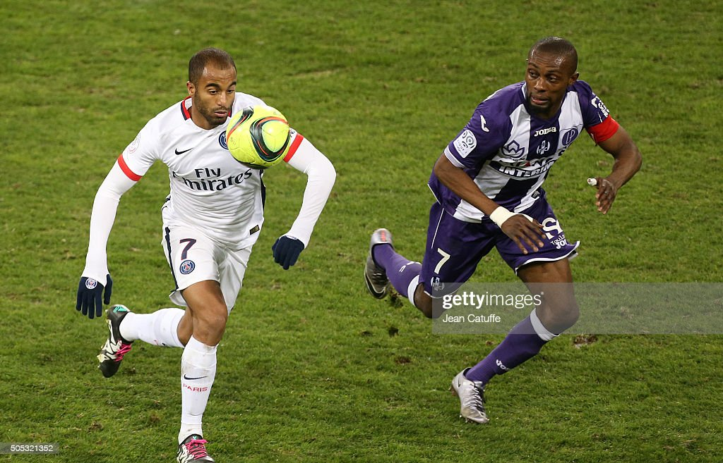 <a gi-track='captionPersonalityLinkClicked' href=/galleries/search?phrase=Lucas+Moura+-+Soccer+Midfielder+-+Born+1992&family=editorial&specificpeople=7910925 ng-click='$event.stopPropagation()'>Lucas Moura</a> of PSG and <a gi-track='captionPersonalityLinkClicked' href=/galleries/search?phrase=Jean-Daniel+Akpa-Akpro&family=editorial&specificpeople=9941256 ng-click='$event.stopPropagation()'>Jean-Daniel Akpa-Akpro</a> of Toulouse in action during the French League 1 match between Toulouse FC (TFC) and Paris Saint-Germain (PSG) at Stadium Municipal on January 16, 2016 in Toulouse, France.