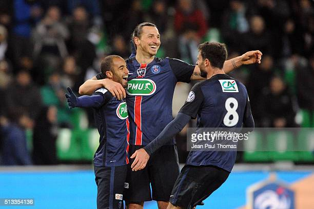 Lucas Moura of PSG and Zlatan Ibrahimovic and Thiago MOTTA of PSG celebrate during the French Cup game between Saint Etienne V Paris Saint Germain at...