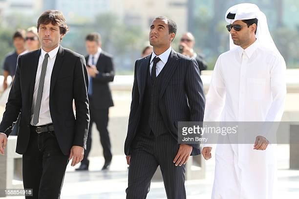 Lucas Moura of PSG attends his offical unveiling as a player of Paris SaintGermain with Nasser AlKhelaifi president of PSG and Leonardo manager of...
