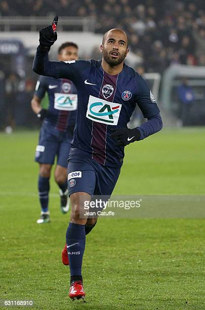Lucas Moura of PSG celebrates his goal during the French Cup match between Paris SaintGermain and SC Bastia at Parc des Princes on January 7 2017 in...