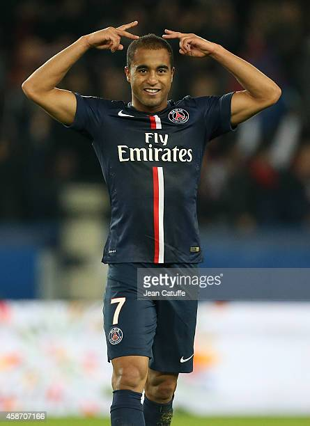 Lucas Moura of PSG celebrates his goal during the French Ligue 1 match between Paris SaintGermain FC and Olympique de Marseille OM at Parc des...