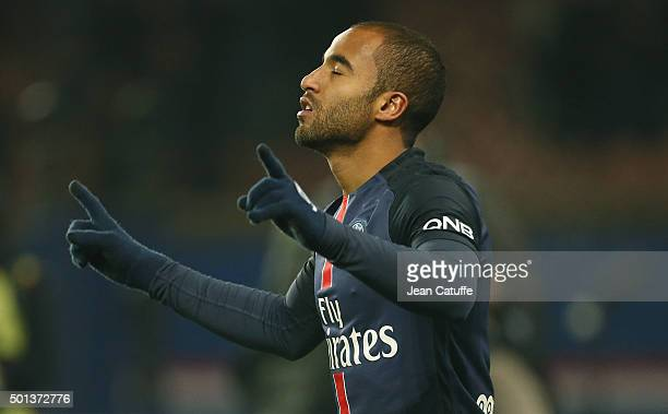 Lucas Moura of PSG celebrates his goal during the French Ligue 1 match between Paris SaintGermain and Olympique Lyonnais at Parc des Princes stadium...