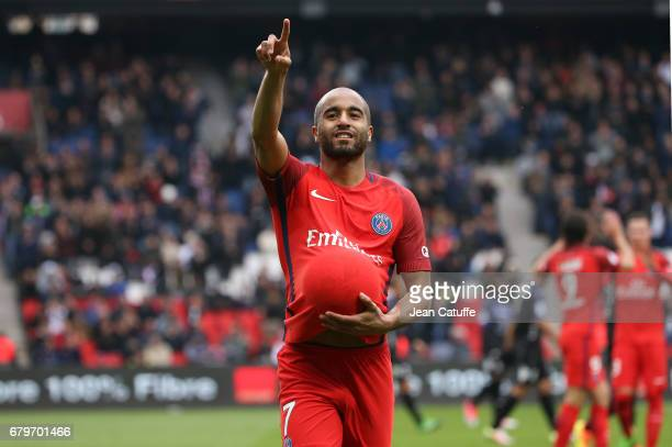 Lucas Moura of PSG celebrates his goal during the French Ligue 1 match between Paris SaintGermain and SC Bastia at Parc des Princes stadium on May 6...