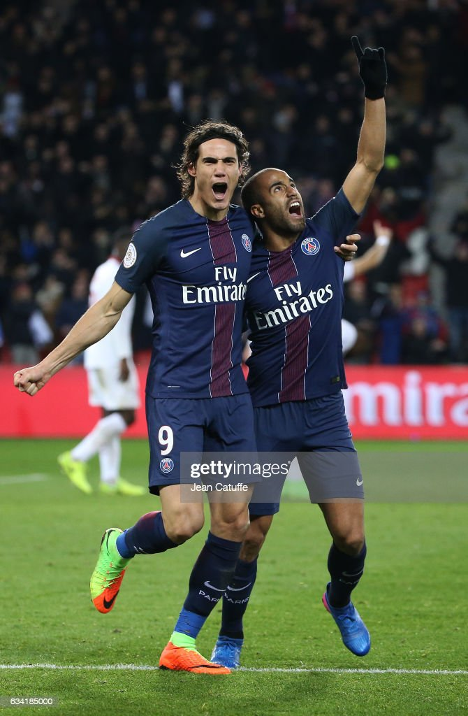 Lucas Moura of PSG celebrates his winning goal with Edinson Cavani (left) during the French Ligue 1 match between Paris Saint-Germain (PSG) and Lille OSC (LOSC) at Parc des Princes stadium on February 7, 2017 in Paris, France.