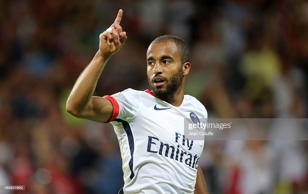 Lucas Moura of PSG celebrates scoring a goal during the French Ligue 1 match between Lille OSC and Paris SaintGermain at Grand Stade Pierre Mauroy on...