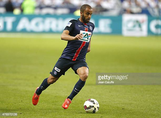 Lucas Moura of PSG in action during the French Cup Final between Paris SaintGermain and AJ Auxerre at Stade de France on May 30 2015 in SaintDenis...