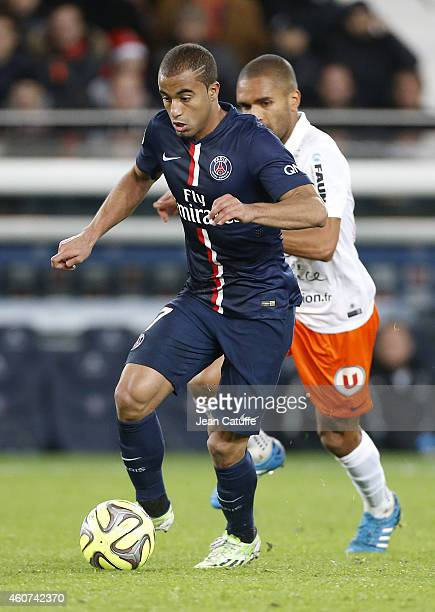 Lucas Moura of PSG in action during the French Ligue 1 match between Paris SaintGermain FC and Montpellier Herault SC at Parc des Princes stadium on...