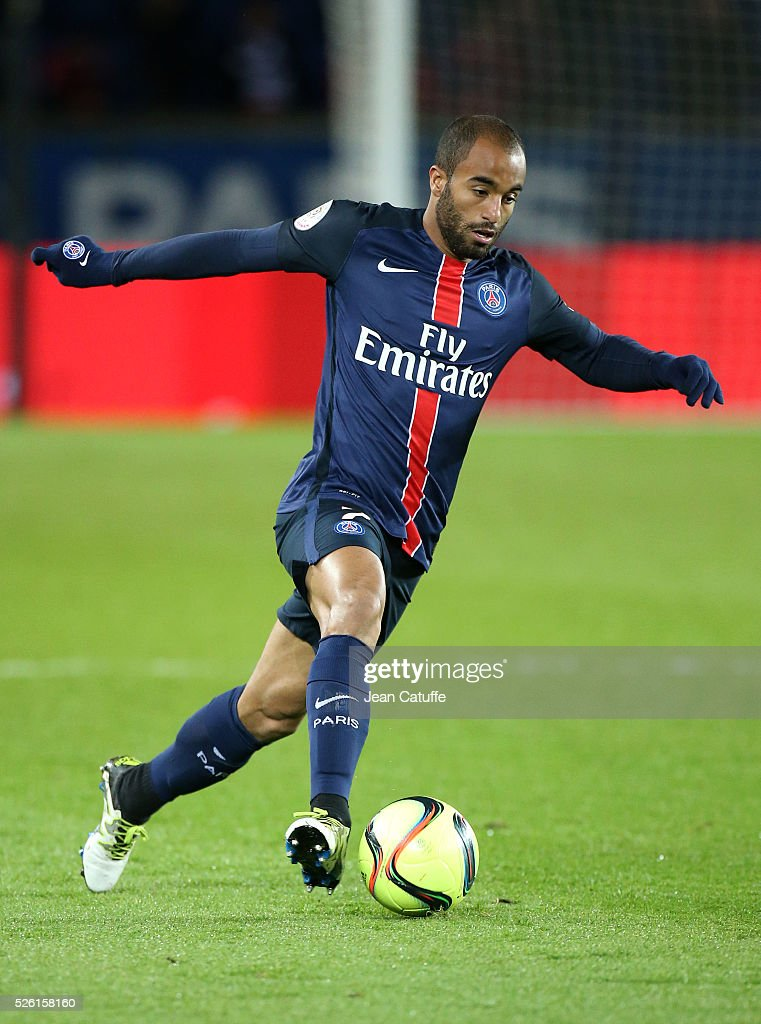 <a gi-track='captionPersonalityLinkClicked' href=/galleries/search?phrase=Lucas+Moura+-+Soccer+Midfielder+-+Born+1992&family=editorial&specificpeople=7910925 ng-click='$event.stopPropagation()'>Lucas Moura</a> of PSG in action during the French Ligue 1 match between Paris Saint-Germain (PSG) and Stade Rennais FC at Parc des Princes stadium on April 29, 2016 in Paris, France.